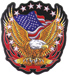 Hot Leathers  Eagle, Flag & Flames Embroidered Patch