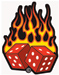 Hot Leathers  Flaming Dice Embroidered Patch