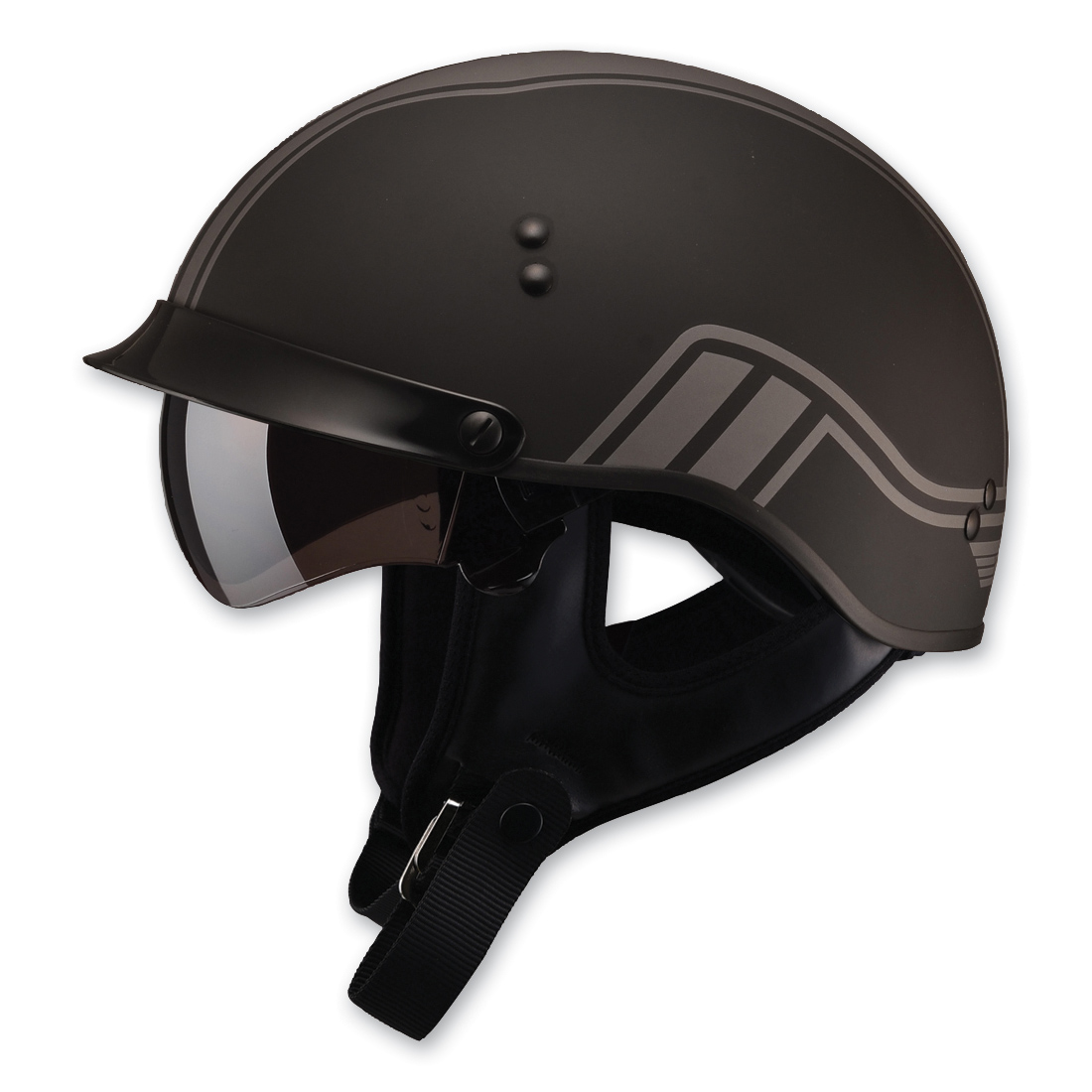 GMAX GM65 Full Dressed Twin Flat Black/Silver Half Helmet