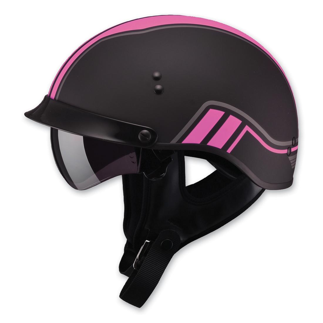 GMAX GM65 Full Dressed Twin Flat Black/Pink Half Helmet