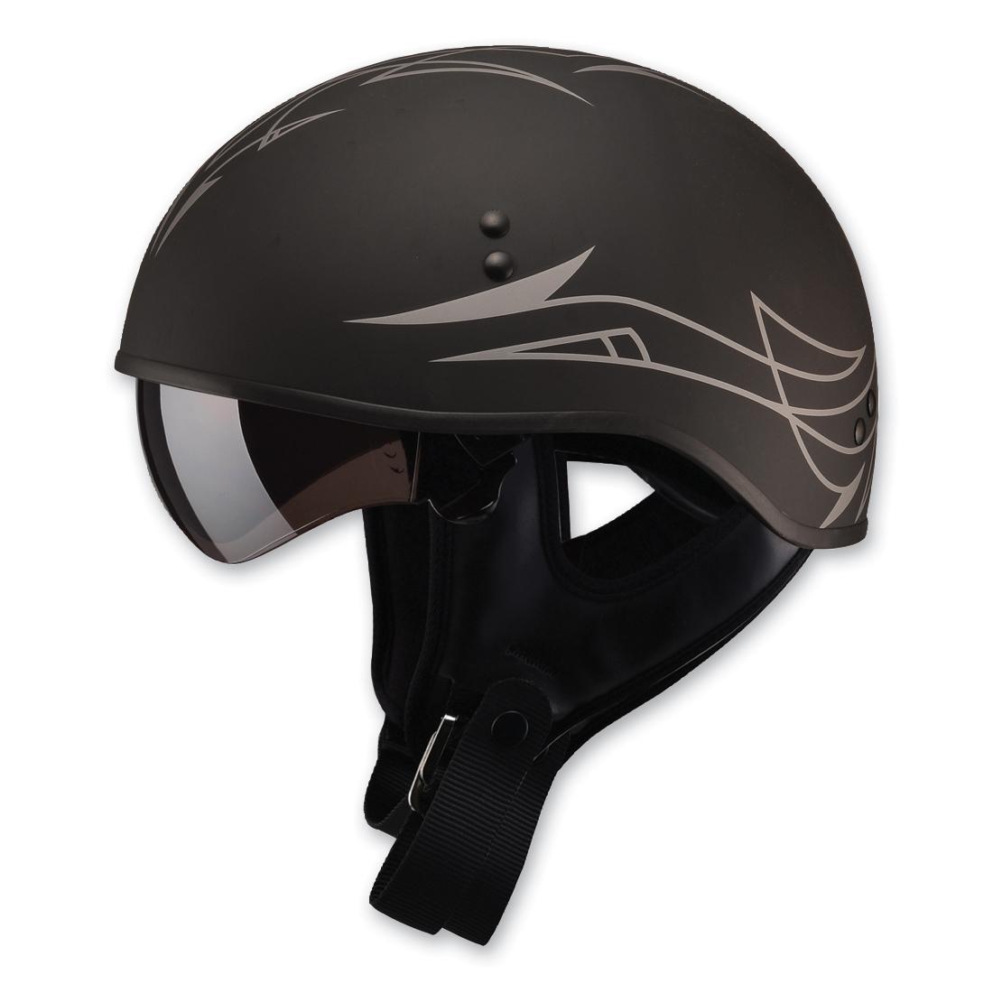 GMAX GM65 Naked Pin Flat Black/Dark Silver Half Helmet