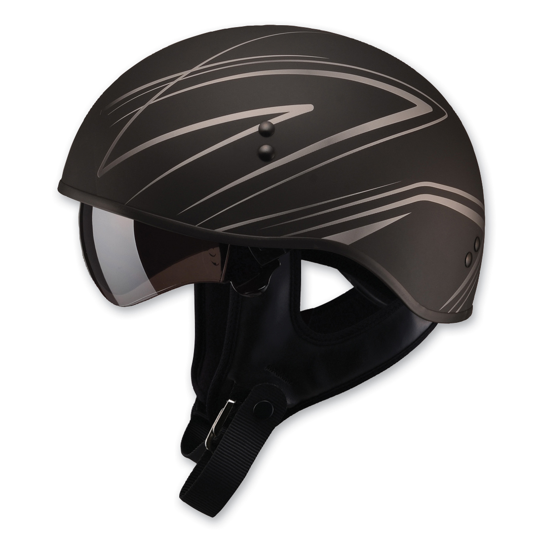 GMAX GM65 Naked Torque Flat Black/Silver Half Helmet