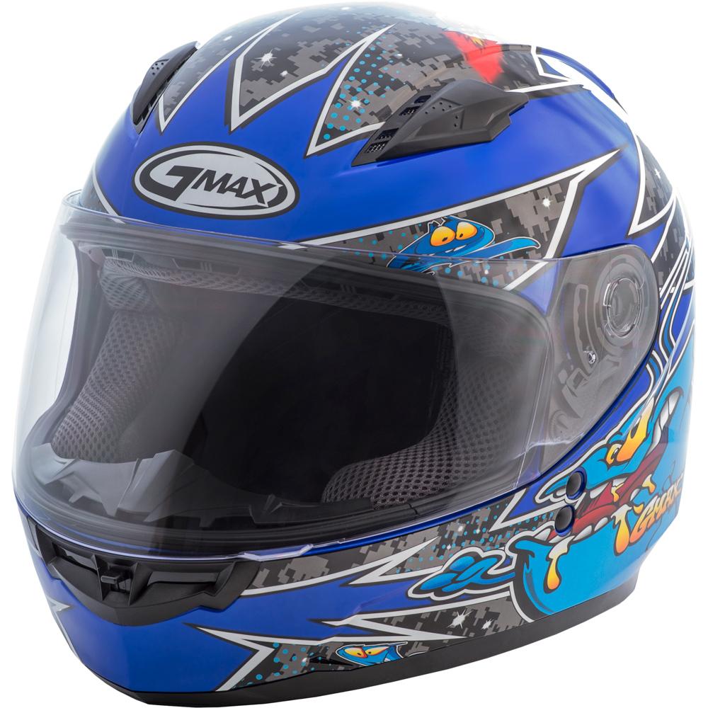 GMAX GM49Y Alien Blue Youth Full Face Helmet