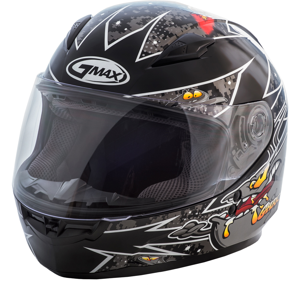 GMAX GM49Y Alien Black/Silver Youth Full Face Helmet