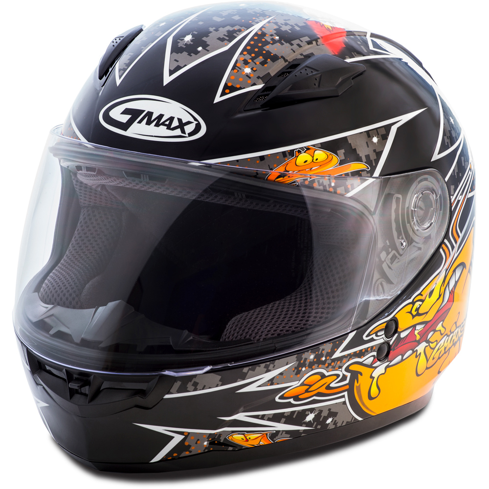 GMAX GM49Y Alien Black/Orange Youth Full Face Helmet