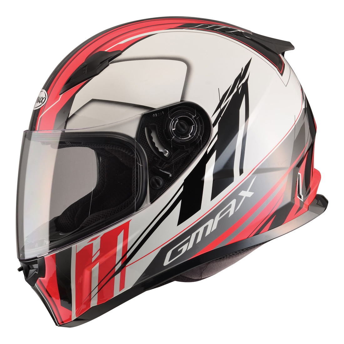 GMAX FF49 Rogue White/Red Full Face Helmet