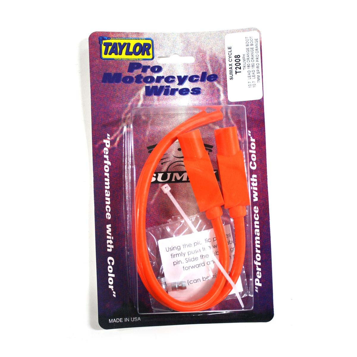 Sumax Orange 7mm Spiro Pro Spark Plug Wire Set