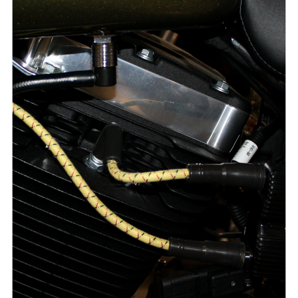 Sumax Yellow with Black and Red Tracer Thunder Braided Cloth Spark Plug Wire Set