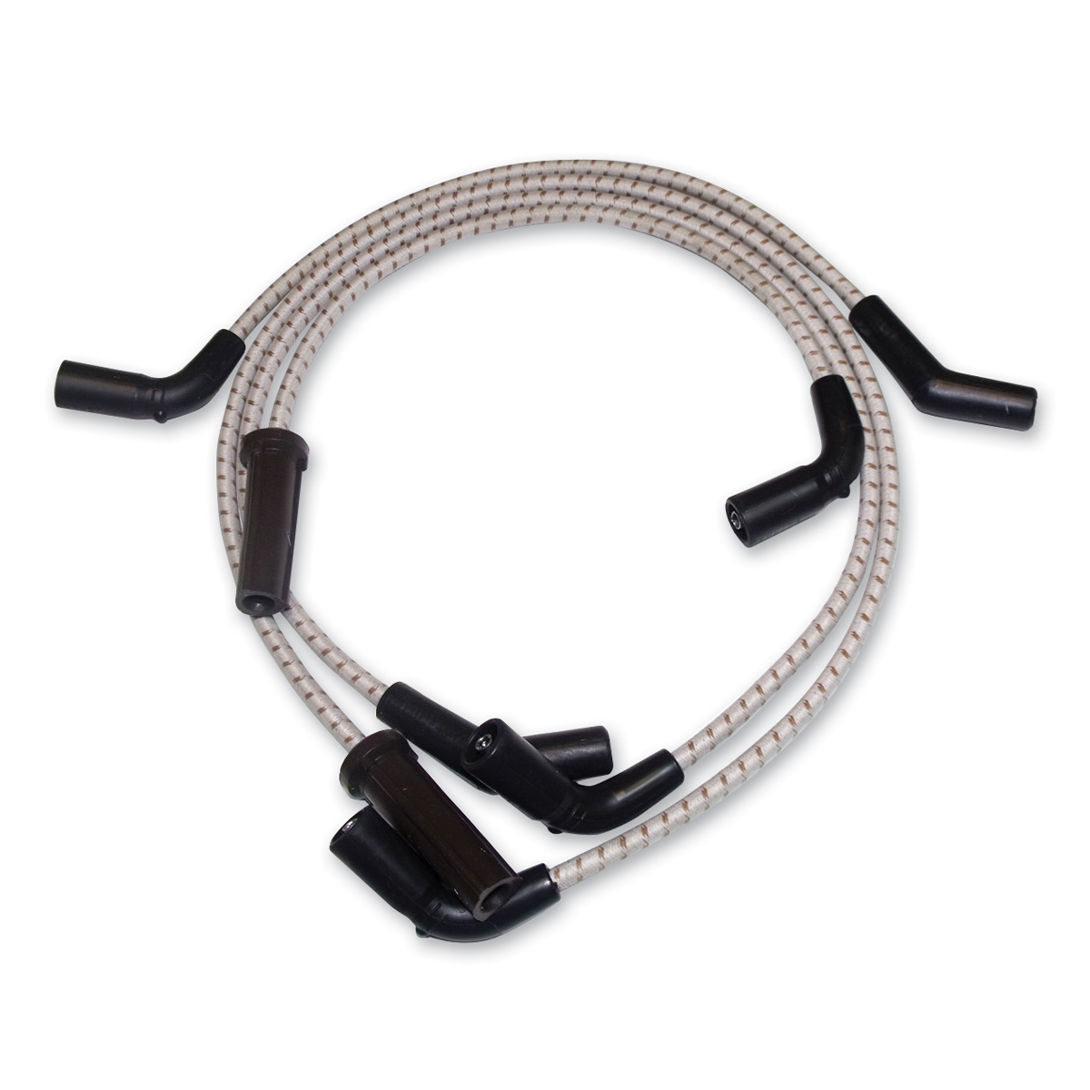 Sumax Grey with Brown Tracer Thunder Braided Cloth Spark Plug Wire Set