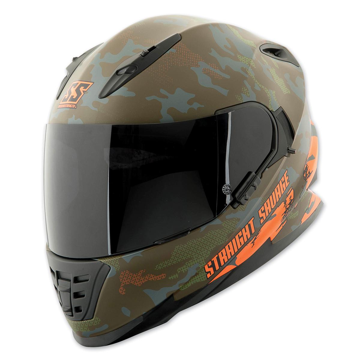 Speed and Strength SS1600 Straight Savage Orange/Green Full Face Helmet