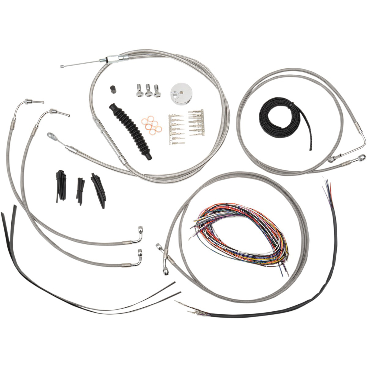 LA Choppers Stainless Complete Cable/Line/Wiring Handlebar Kit for Mini Ape Bars on Models without ABS