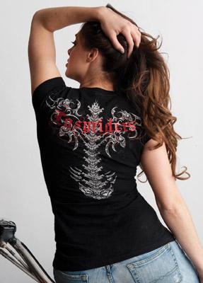 Easyriders Ladies Cap-Sleeve Wicked Spine Tee