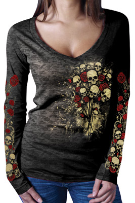 Women's Skull & Roses Burn Out Tee