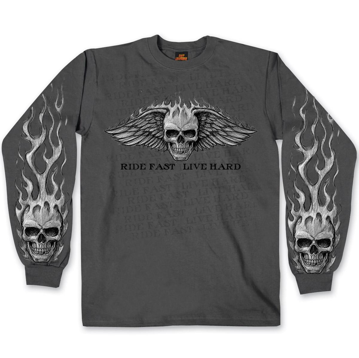 Hot Leathers Bad Scratch Long Sleeve Biker T-shirt