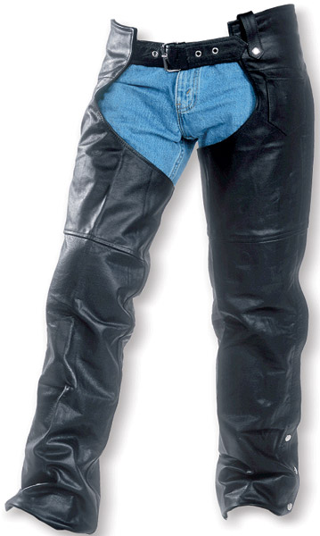 Interstate Leather Jadon Unisex Black Leather Chaps
