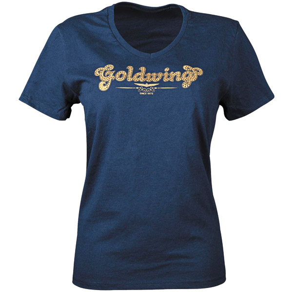 Gold Wing Sparkle Navy Vee Neck T-shirt