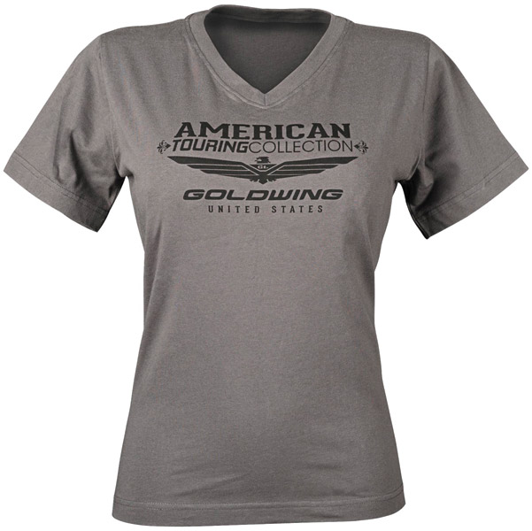 Honda Gold Wing Women's Touring Collection Gray V-Neck T-shirt