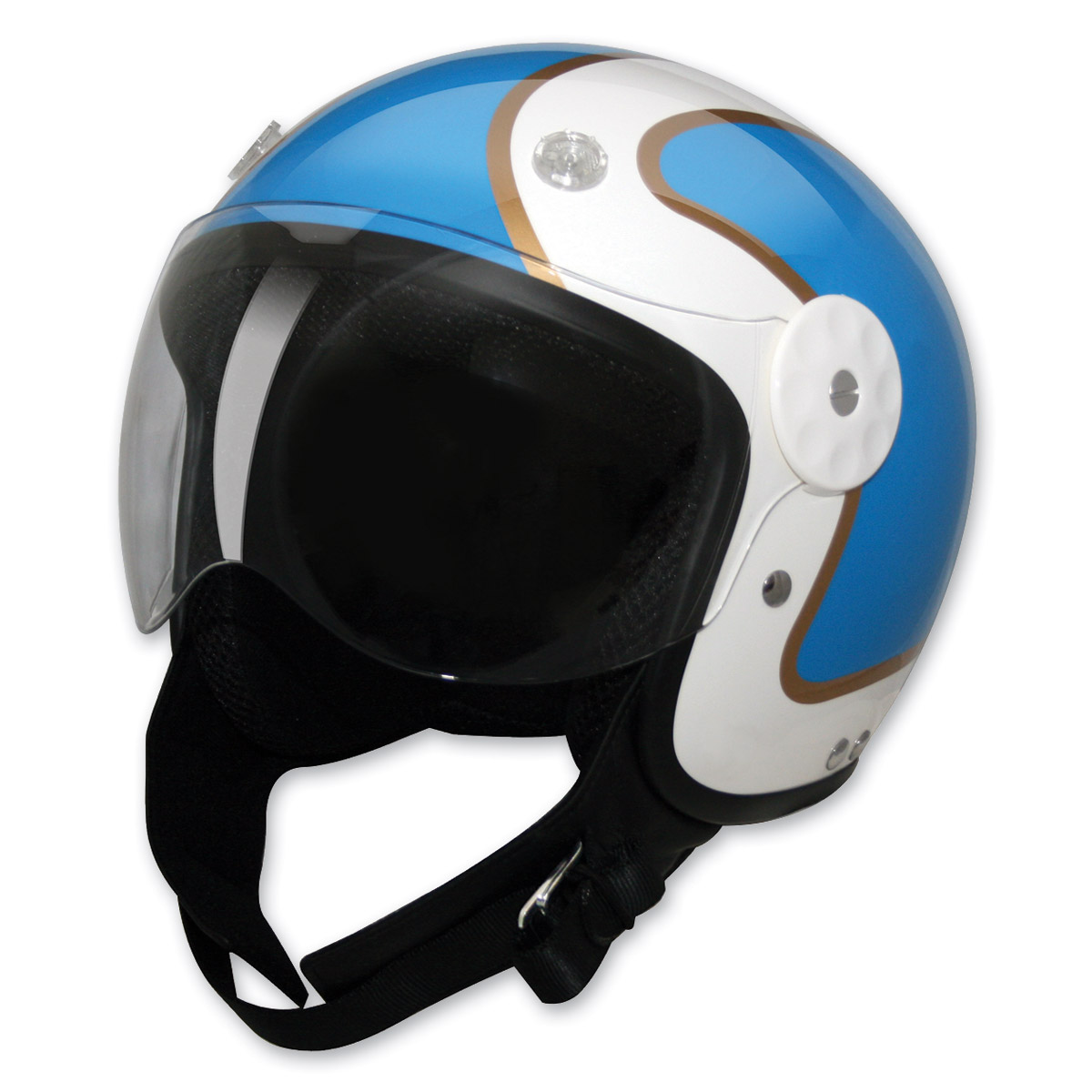 HCI-15 Stripe Blue and Gold Open Face Helmet