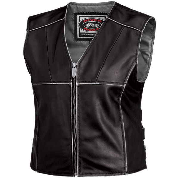 River Road Women's Rambler Black Leather Vest
