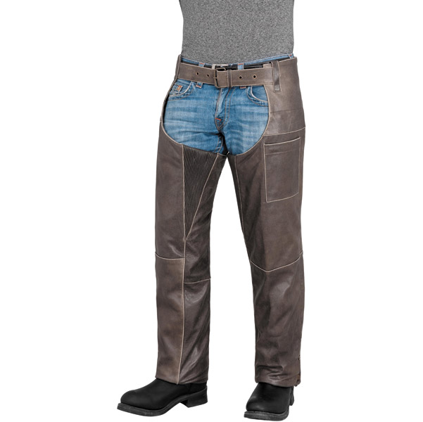 River Road Men's Drifter Brown Leather Chaps