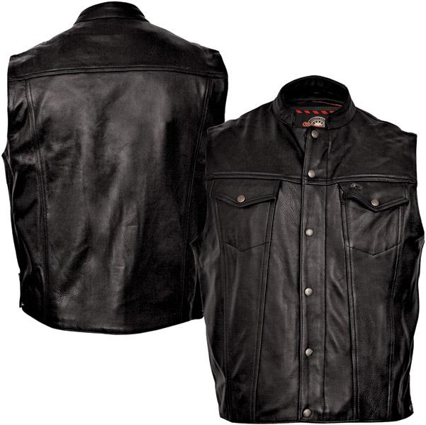 Milwaukee Motorcycle Clothing Co. Men's Jinx Black Leather Vest