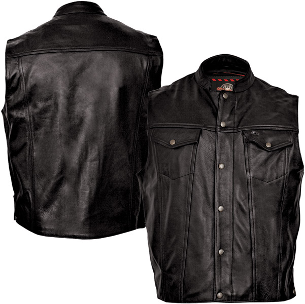 Top Milwaukee Motorcycle Clothing Co. Men's Jinx Black Leather Vest  VP76