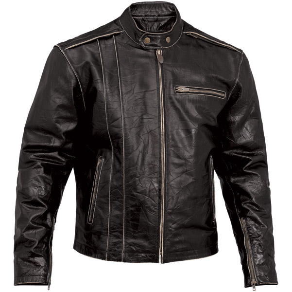 River Road Men's Petro Black Leather Jacket