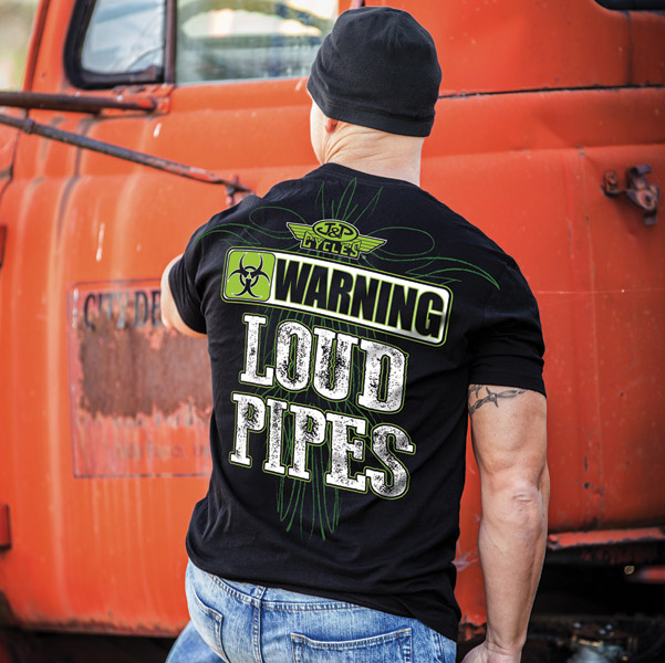 J&P Cycles® Men's Warning Loud Pipes Black T-shirt