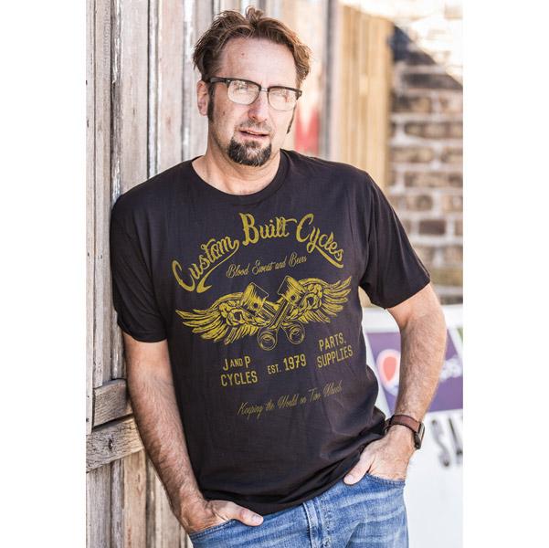 J&P Cycles® Men's Custom Built Black T-Shirt