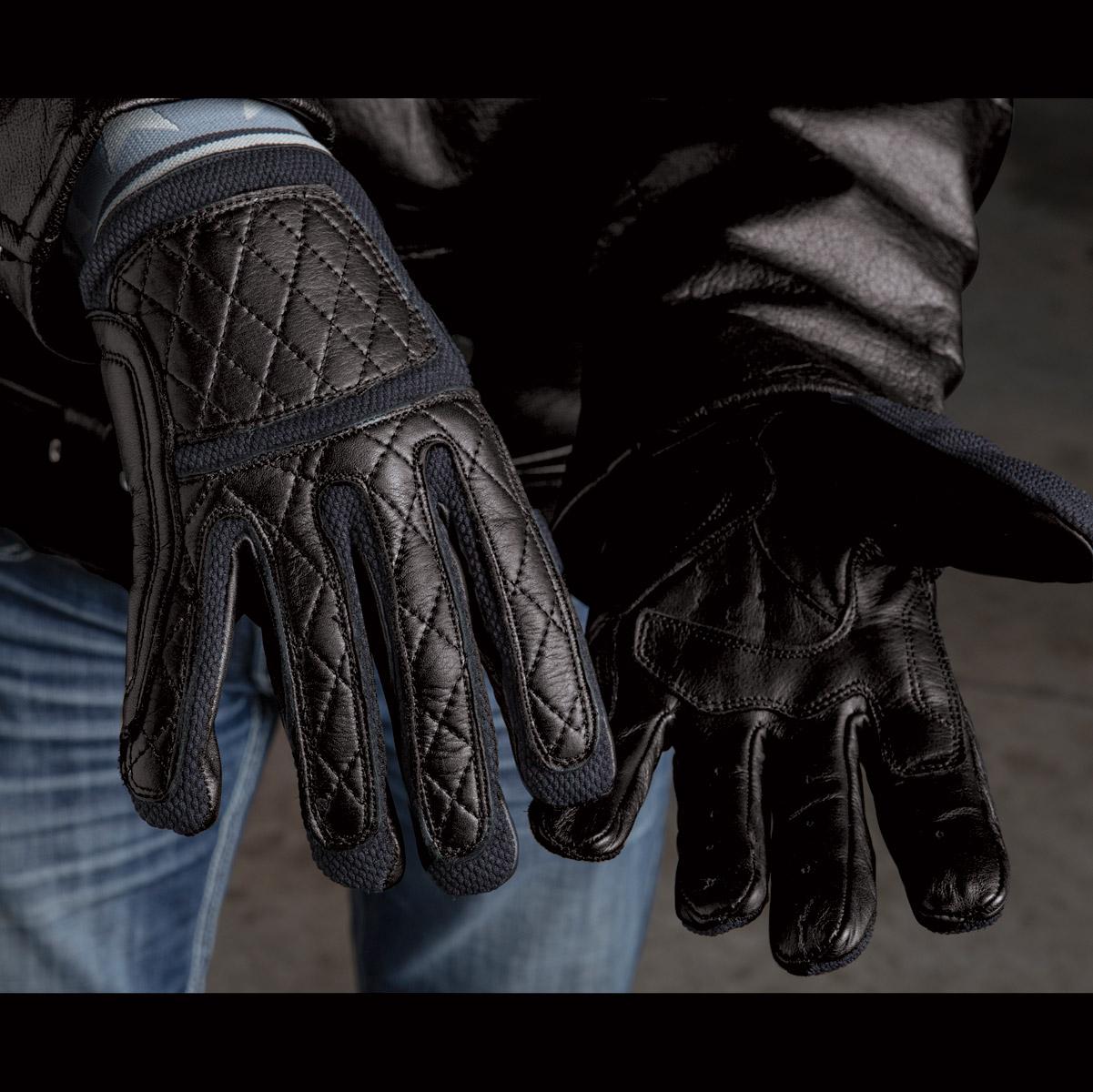 Roland Sands Design Men's Peristyle Black Leather Gloves