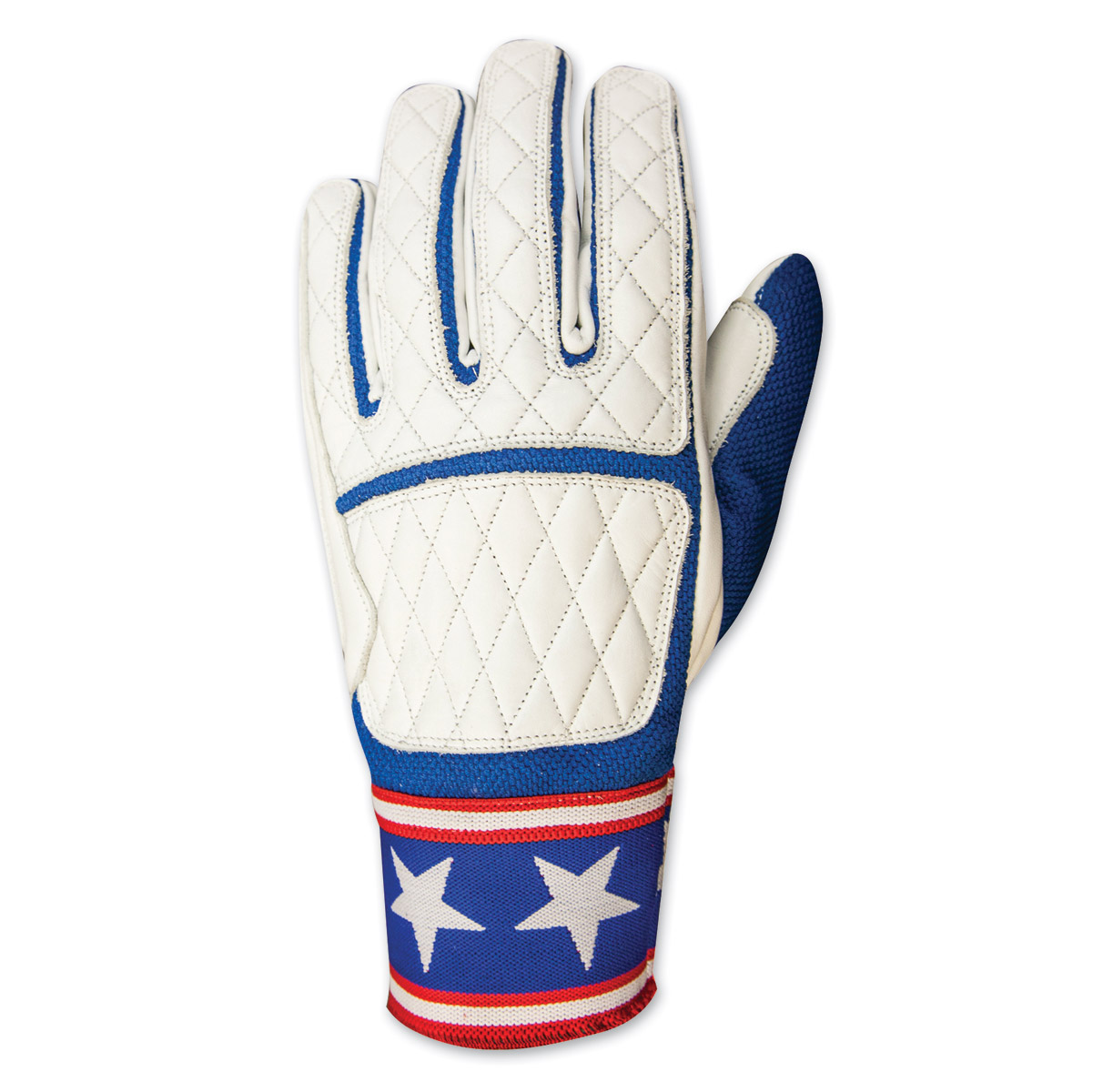 Roland Sands Design Men's Peristyle White/Navy Leather Gloves