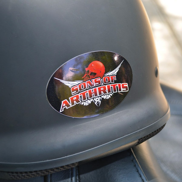 Sons of Arthritis Skull Helmet Sticker