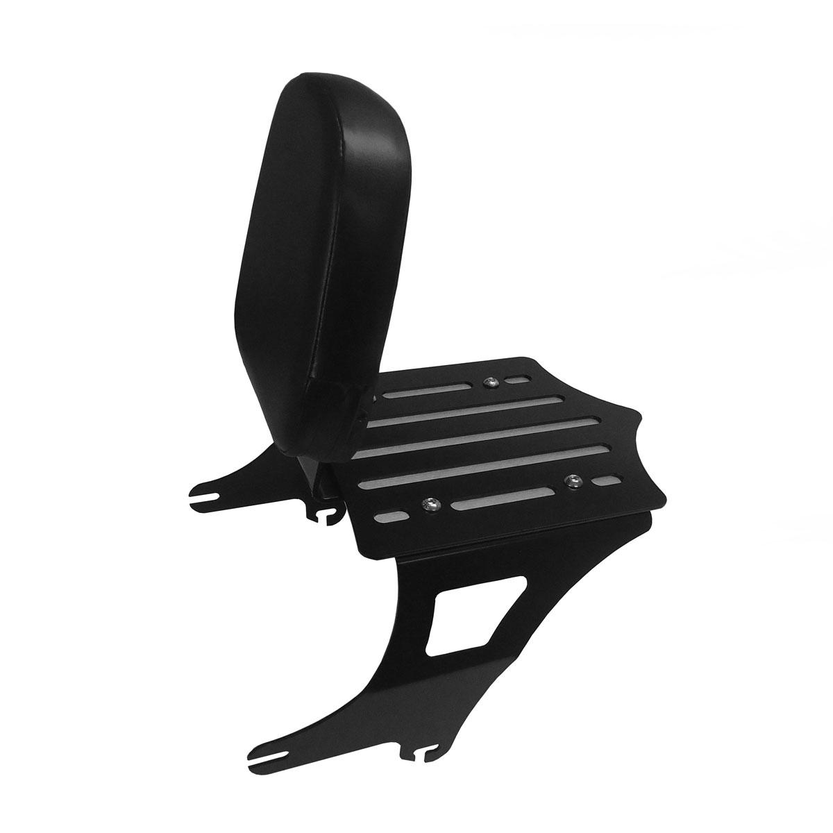 BDD Custom Black Slot Sissy Bar w/Luggage Rack & Backrest for 2-Up Seats