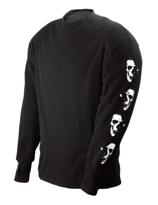 Schampa Men's Old School Fleece Lined Thermal Black Long Sleeve Shirt