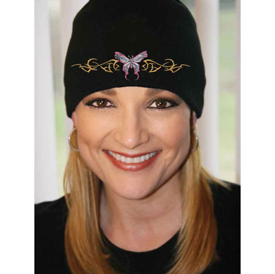 Embroidered Tribal Butterfly Beanie