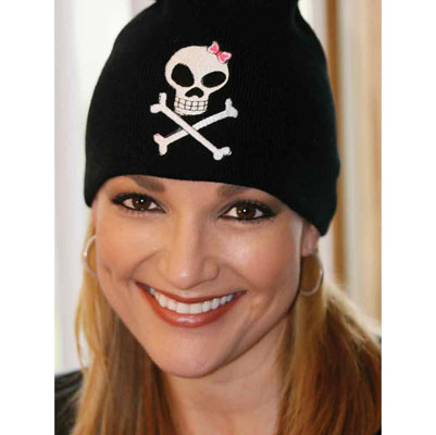 That's A Wrap Embroidered Skull with Pink Bow Beanie