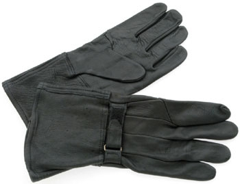 J&P Cycles® Black Deerskin Gauntlet-Style Gloves