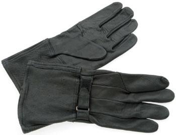 J&P Cycles® Black Deerskin Gauntlet-Style Gloves