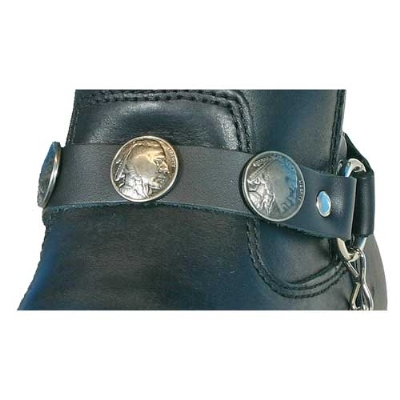 Hot Leathers Indian Head Nickel Leather Boot Chains