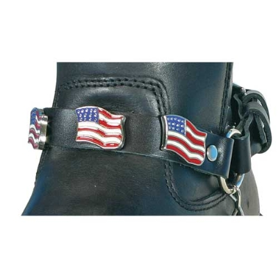 Hot Leathers USA Flag Leather Boot Chains