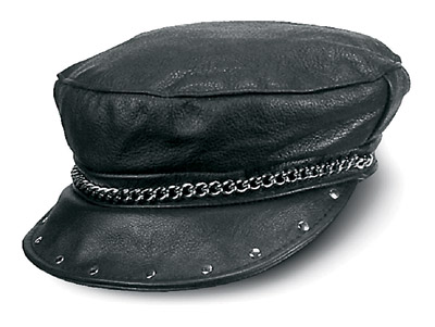 Carroll Leather Riding Cap with Chain and Rivets