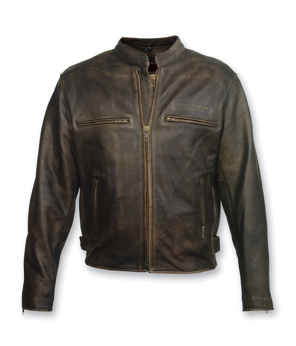 Milwaukee Motorcycle Clothing Co. Crazy Horse Brown Leather Jacket ...