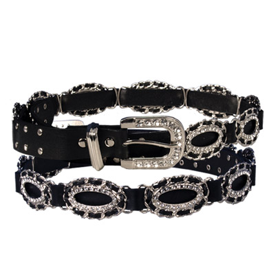 Ladies Rhinestone Oval Ropes Leather Belt