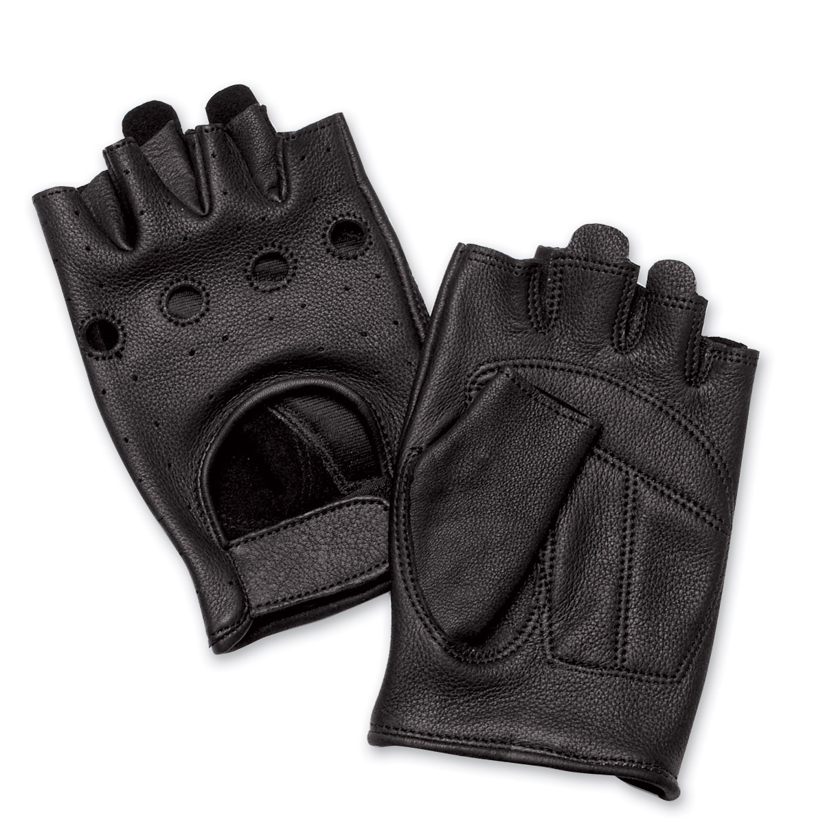 J&P Cycles® Fingerless Deerskin Gloves with Easy-Pull Tabs
