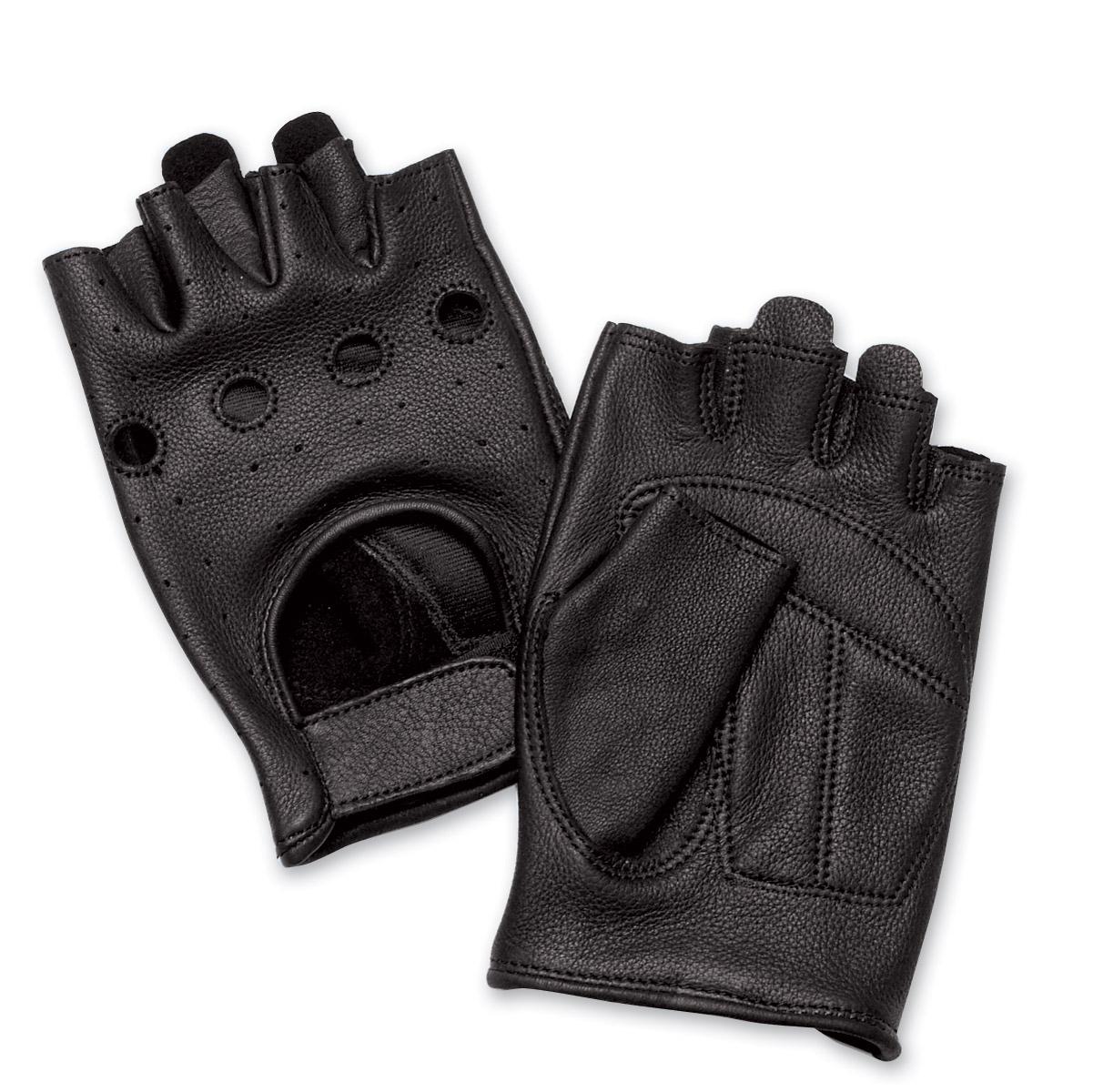 J&P Cycles® Fingerless Deerskin Gloves with Easy-Pull Tabs