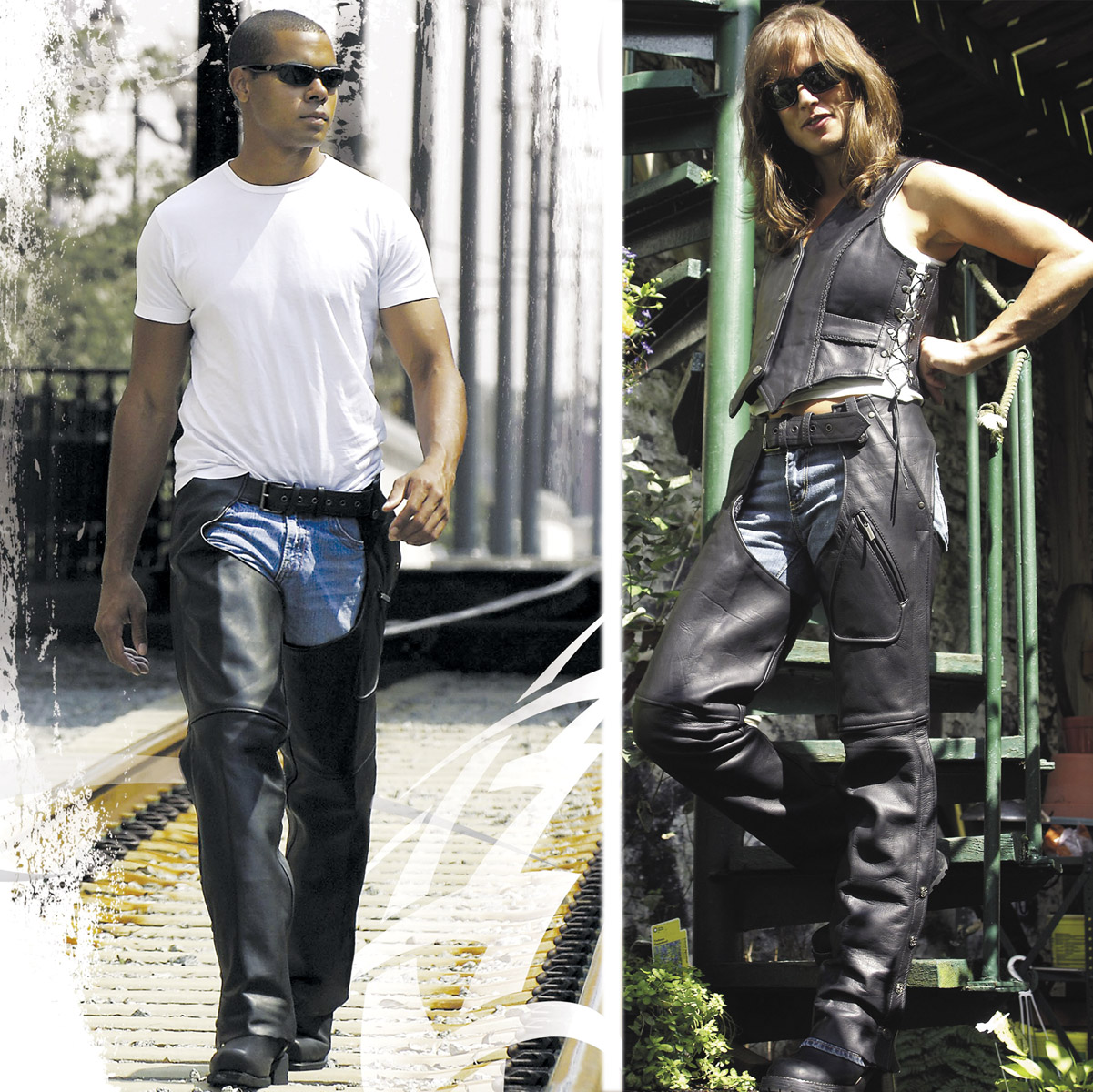 Milwaukee Motorcycle Clothing Co. Unisex Gunslinger Black Leather Chaps
