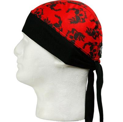 Schampa Red with Skulls Stretch Z-Wrap Headband