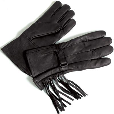 J&P Cycles® Unlined Gauntlet Deerskin Gloves with Fringe