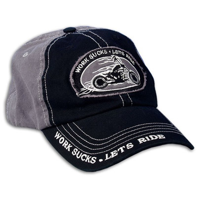 Hot Leathers Work Sucks-Let's Ride Enzyme Washed Ball Cap