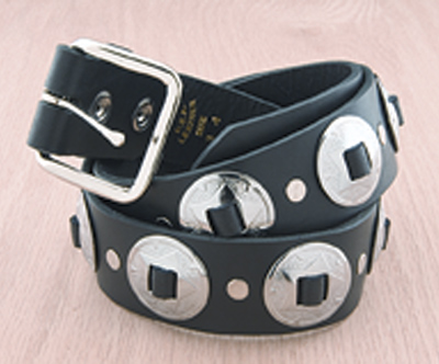 Eagle Leather Belt with Conchos